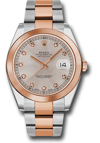 Rolex Watches - Datejust 41 Steel and Pink Gold - Smooth Bezel - Oyster - Style No: 126301 sudo
