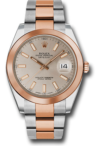 Rolex Watches - Datejust 41 Steel and Pink Gold - Smooth Bezel - Oyster - Style No: 126301 suio