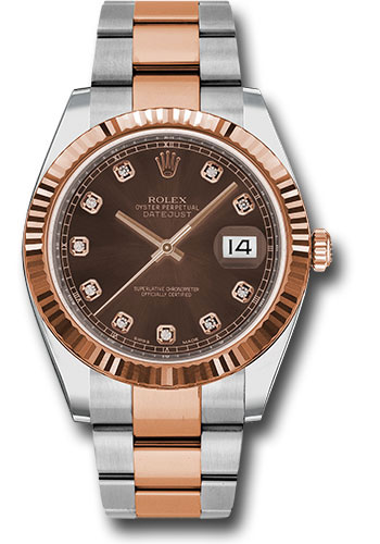 Rolex Watches - Datejust 41 Steel and Pink Gold - Fluted Bezel - Oyster - Style No: 126331 chodo