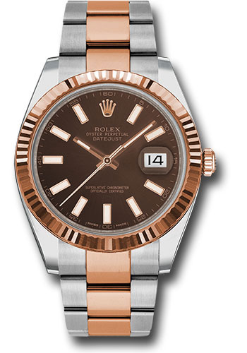 Rolex Watches - Datejust 41 Steel and Pink Gold - Fluted Bezel - Oyster - Style No: 126331 choio