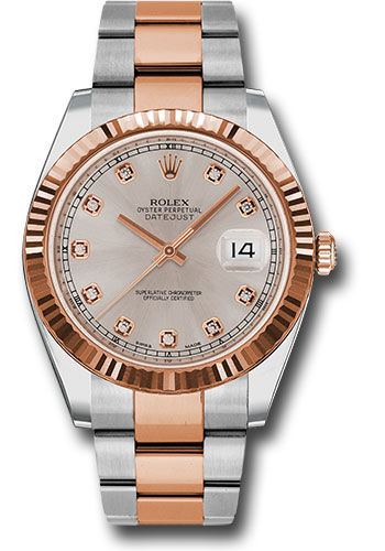 Rolex Watches - Datejust 41 Steel and Pink Gold - Fluted Bezel - Oyster - Style No: 126331 sudo