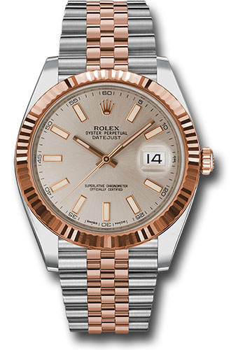 Rolex Watches - Datejust 41 Steel and Pink Gold - Fluted Bezel - Jubilee - Style No: 126331 suij
