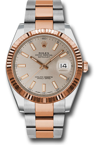 Rolex Watches - Datejust 41 Steel and Pink Gold - Fluted Bezel - Oyster - Style No: 126331 suio