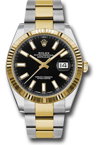 Rolex Watches - Datejust 41 Steel and Yellow Gold - Fluted Bezel - Oyster - Style No: 126333 bkio