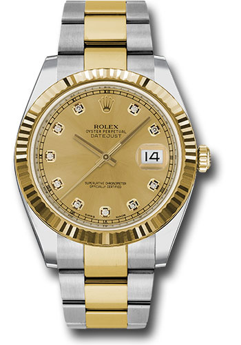 Rolex Watches - Datejust 41 Steel and Yellow Gold - Fluted Bezel - Oyster - Style No: 126333 chdo