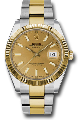 Rolex Watches - Datejust 41 Steel and Yellow Gold - Fluted Bezel - Oyster - Style No: 126333 chio
