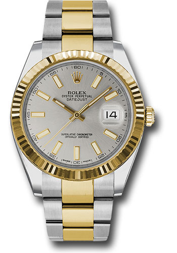 Rolex Watches - Datejust 41 Steel and Yellow Gold - Fluted Bezel - Oyster - Style No: 126333 sio