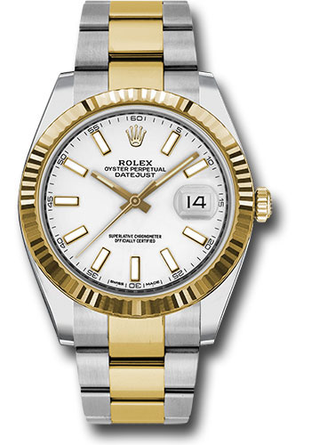 Rolex Watches - Datejust 41 Steel and Yellow Gold - Fluted Bezel - Oyster - Style No: 126333 wio