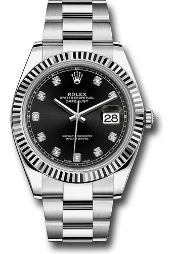 Rolex Steel And White Gold Rolesor Datejust 41 Watch Fluted Bezel Black Diamond Dial Oyster Bracelet 402 026