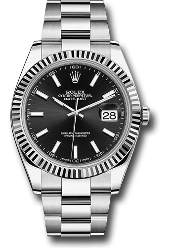 Rolex Watches - Datejust 41 Steel and White Gold - Fluted Bezel - Oyster - Style No: 126334 bkio