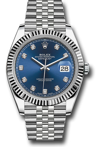Rolex Watches - Datejust 41 Steel and White Gold - Fluted Bezel - Jubilee - Style No: 126334 bldj