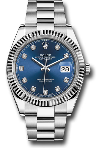 Rolex Watches - Datejust 41 Steel and White Gold - Fluted Bezel - Oyster - Style No: 126334 bldo