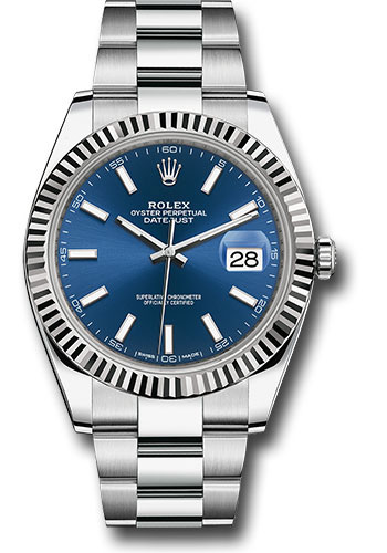 Rolex Watches - Datejust 41 Steel and White Gold - Fluted Bezel - Oyster - Style No: 126334 blio