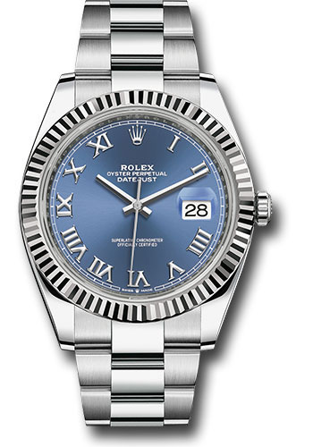 Rolex Watches - Datejust 41 Steel and White Gold - Fluted Bezel - Oyster - Style No: 126334 blro