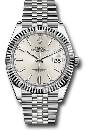 Rolex Watches - Datejust 41 Steel and White Gold - Fluted Bezel - Jubilee - Style No: 126334 sij