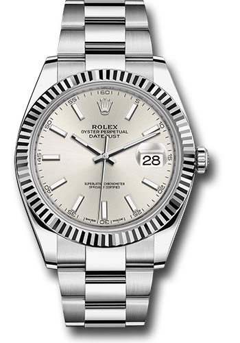 Rolex Watches - Datejust 41 Steel and White Gold - Fluted Bezel - Oyster - Style No: 126334 sio