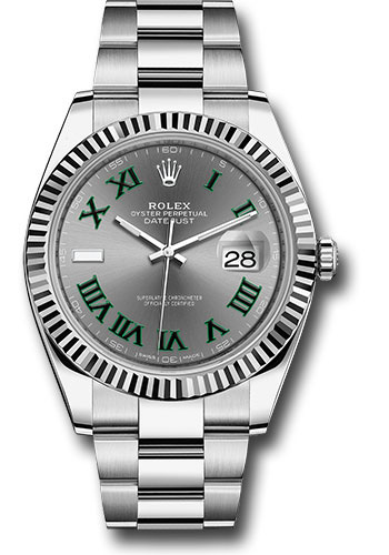 Rolex Watches - Datejust 41 Steel and White Gold - Fluted Bezel - Oyster - Style No: 126334 slgro