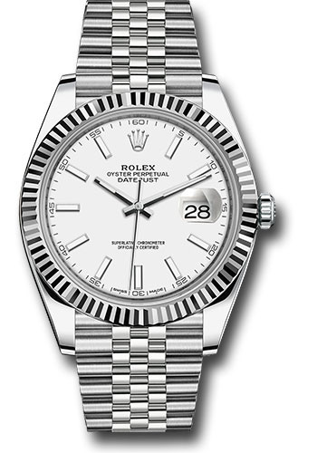 Rolex Watches - Datejust 41 Steel and White Gold - Fluted Bezel - Jubilee - Style No: 126334 wij