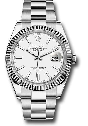 Rolex Watches - Datejust 41 Steel and White Gold - Fluted Bezel - Oyster - Style No: 126334 wio
