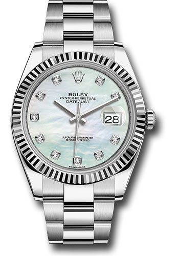 Rolex Watches - Datejust 41 Steel and White Gold - Fluted Bezel - Oyster - Style No: 126334 wmdo