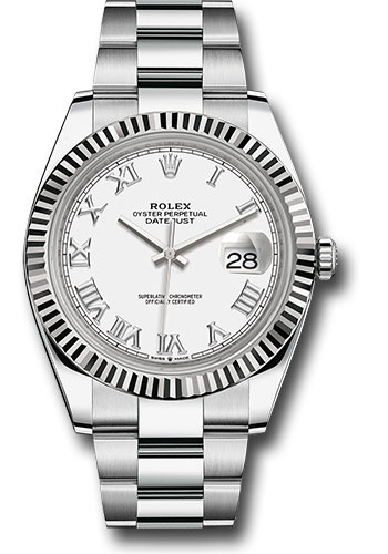 Rolex Watches - Datejust 41 Steel and White Gold - Fluted Bezel - Oyster - Style No: 126334 wro