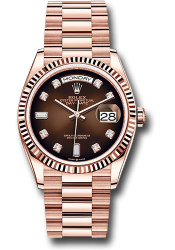 Rolex Watches - Day-Date 36 Everose Gold - Fluted Bezel - President - Style No: 128235 brodp