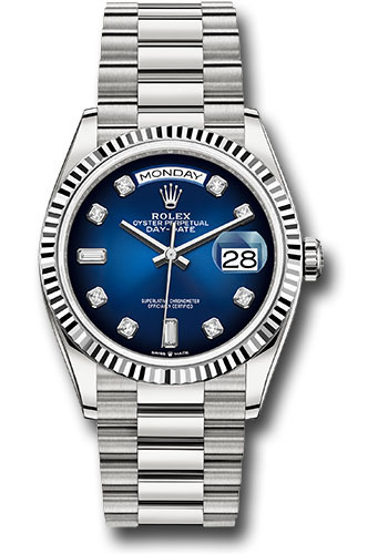 Rolex Watches - Day-Date 36 White Gold - Fluted Bezel - President - Style No: 128239 blodp