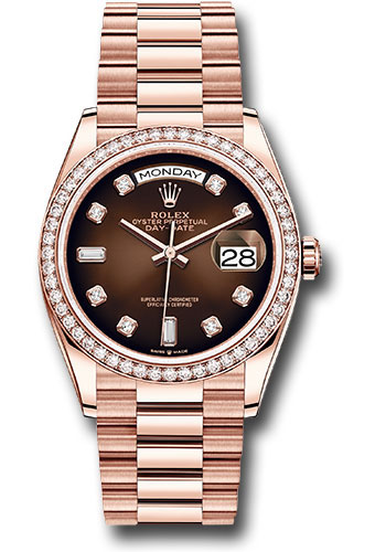 Rolex Watches - Day-Date 36 Everose Gold - 52 Dia Bezel - President - Style No: 128345RBR brodp
