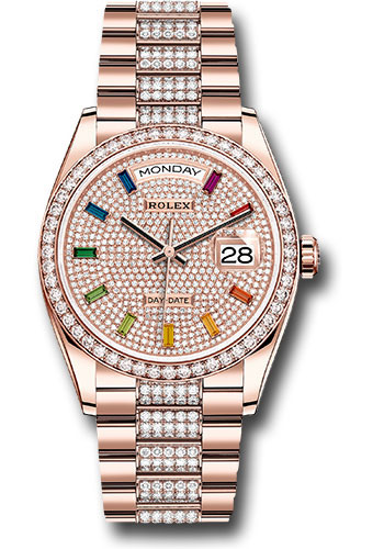 Rolex Watches - Day-Date 36 Everose Gold - 52 Dia Bezel - Dia President - Style No: 128345RBR dprsdp
