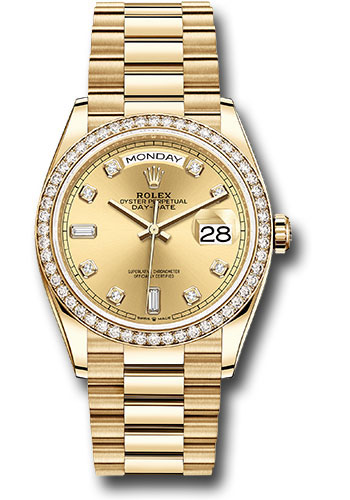 Rolex Yellow Gold Day,Date 36 Watch , Diamond Bezel , Champagne Diamond  Dial , President Bracelet , 118205 chdo