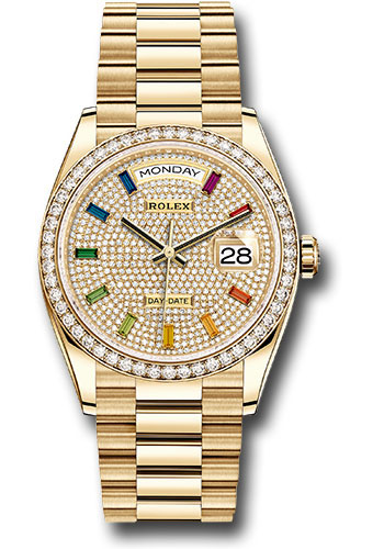 Rolex Watches - Day-Date 36 Yellow Gold - 52 Dia Bezel - President - Style No: 128348RBR dprsp