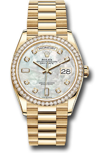 Rolex Watches - Day-Date 36 Yellow Gold - 52 Dia Bezel - President - Style No: 128348RBR mdp