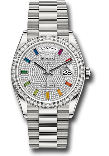Rolex Watches - Day-Date 36 White Gold - 52 Dia Bezel - President - Style No: 128349RBR dprsp