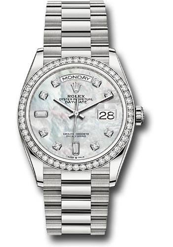Rolex Watches - Day-Date 36 White Gold - 52 Dia Bezel - President - Style No: 128349RBR mdp