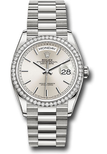 Rolex Watches - Day-Date 36 White Gold - 52 Dia Bezel - President - Style No: 128349RBR sip