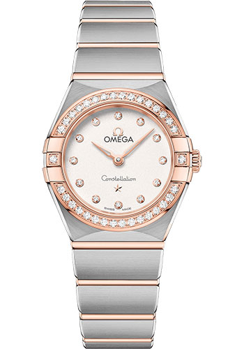 Omega Watches - Constellation Manhattan Quartz 25 mm - Steel and Sedna Gold - Diamond Bezel - Style No: 131.25.25.60.52.001