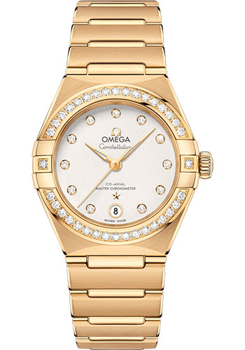 Omega Watches - Constellation Manhattan 29 mm - Yellow Gold - Diamond Bezel - Style No: 131.55.29.20.52.002