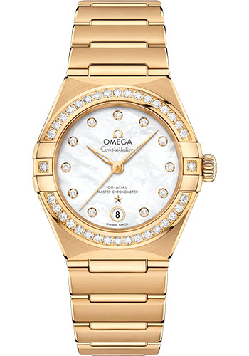 Omega Watches - Constellation Manhattan 29 mm - Yellow Gold - Diamond Bezel - Style No: 131.55.29.20.55.002