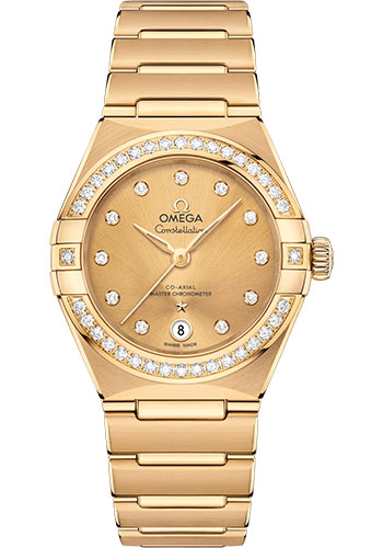 Omega Watches - Constellation Manhattan 29 mm - Yellow Gold - Diamond Bezel - Style No: 131.55.29.20.58.001
