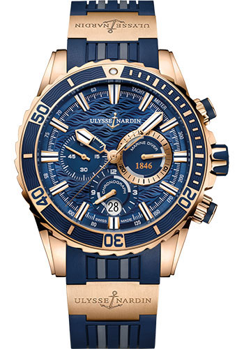 Ulysse Nardin Watches - Diver Chronograph 44mm - Rose Gold - Rubber Strap - Style No: 1502-151-3/93