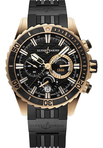 Ulysse Nardin Watches - Diver Chronograph 44mm - Rose Gold - Rubber Strap - Style No: 1502-151-3C/92