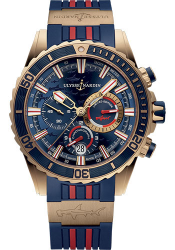 Ulysse Nardin Watches - Diver Chronograph 44mm - Rose Gold - Rubber Strap - Style No: 1502-151LE-3/93-HAMMER