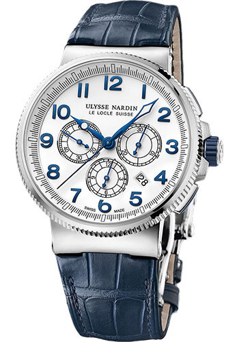 Ulysse Nardin Watches - Marine Chronograph Manufacture Steel And Titanium - Leather Strap - Style No: 1503-150/60