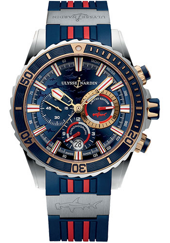 Ulysse Nardin Watches - Diver Chronograph 44mm - Rose Gold - Rubber Strap - Style No: 1505-151LE-3/93-HAMMER/BQ