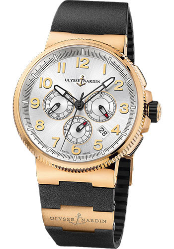 Ulysse Nardin Watches - Marine Chronograph Manufacture Rose Gold - Rubber Strap - Style No: 1506-150-3/61