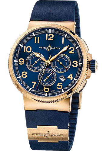 Ulysse Nardin Watches - Marine Chronograph Manufacture Rose Gold - Rubber Strap - Style No: 1506-150-3/63