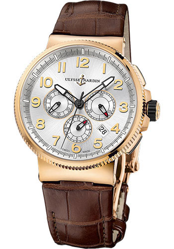 Ulysse Nardin Watches - Marine Chronograph Manufacture Rose Gold - Leather Strap - Style No: 1506-150/61