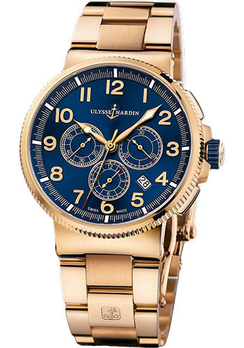 Ulysse Nardin Watches - Marine Chronograph Manufacture Rose Gold - Bracelet - Style No: 1506-150-8M/63
