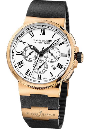 Ulysse Nardin Watches - Marine Chronograph Manufacture Rose Gold - Rubber Strap - Style No: 1506-150LE-3