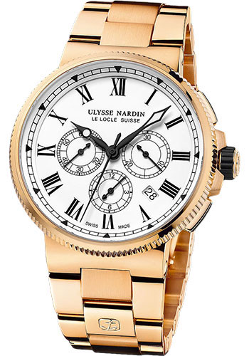 Ulysse Nardin Watches - Marine Chronograph Manufacture Rose Gold - Bracelet - Style No: 1506-150LE-8M